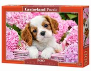 Puzzle Pup in Pink Flowers 500,